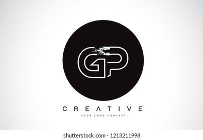 GP Modern Leter Logo Design with Black and White Monogram. Creative Letter Logo Brush Monogram Vector Design.