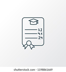 Gpa icon line symbol. Premium quality isolated grade paper element in trendy style.