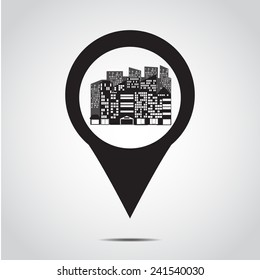 GPS  icon . map pointer city .  Vector illustration