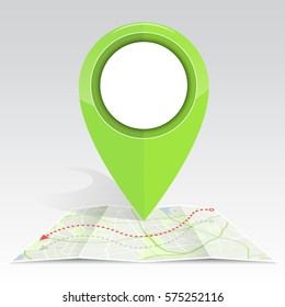 gps icon mock up green color on Map and navigator line. EPS10 vector illustration