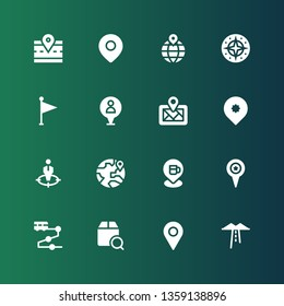 gps icon set. Collection of 16 filled gps icons included Route, Placeholder, Localize, Track, Pin, Location, Position, Digital map, Flag, Compass, Road