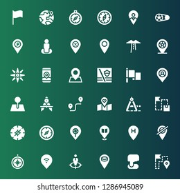 gps icon set. Collection of 36 filled gps icons included Route, Position, Placeholder, Pin, Compass, Location, Flag, Maps, Gps, Navigation, Crankset