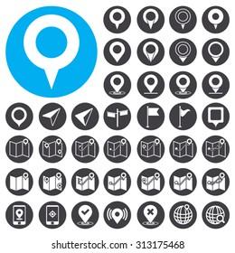 GPS icons set. Illustration EPS10