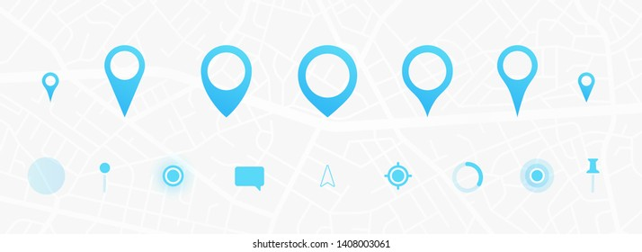 GPS interface elements set. City map navigation. GPS navigator. Point marker icon. Top view, view from above. UX/UI. Abstract background. Cute simple design. Flat style vector illustration.