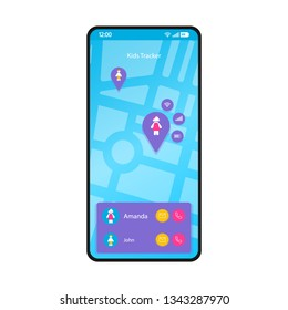 GPS kids tracker smartphone interface vector template. Mobile app page blue layout. Children tracking, navigation, location finder screen. Flat UI for application. Parental control. Phone display
