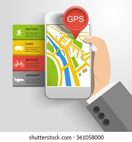 gps location infographics smartphone in hand