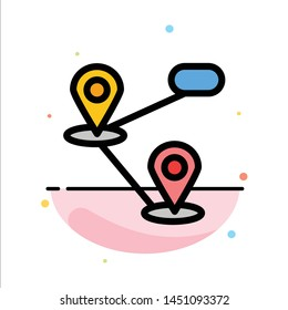 Gps, Location, Map Abstract Flat Color Icon Template