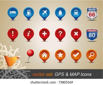 GPS and MAP Icon Set. Vector Illustration.