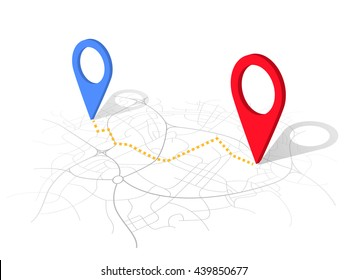 GPS map navigation with pointers isolated on white background. vector 3d design.
