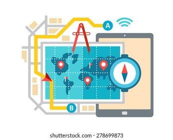 GPS map navigation and routing concept flat vector illustration