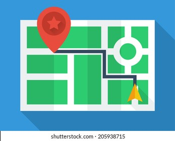 GPS Map. Top view with simple flat design. Navigation icon with red pin and partially folded map. pastel colors