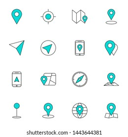 gps, maps, travel, navigation filled line blue icons set. creative simple gps, navigation icons set vector illustration. smart user colored line interface icons set