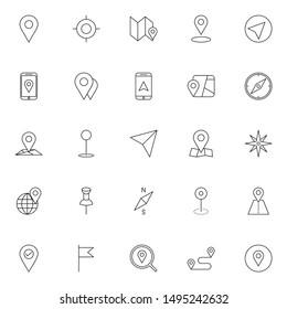 gps, maps, travel, navigation outline icons set. simple set of gps, navigation vector illustration icons. editable stroke thin line icon.