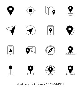 gps, maps, travel, navigation solid line icons set. creative simple gps, navigation icons set vector illustration. smart user interface icons set