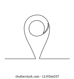 The GPS mark drawn on a single line on a white background. One-line drawing. Continuous line. Vector Eps10