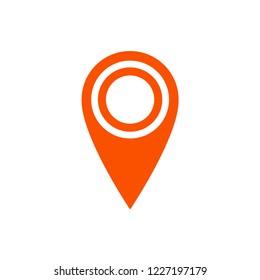 Gps marker, map pin orange icon