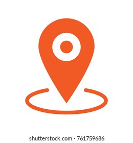 Gps marker, map pin orange icon