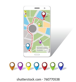 GPS Mobile Navigations on Smartphone screen. Flat style design.