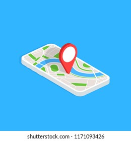 Gps navigation app on mobile phone. Isometric smartphone isolated on blue background. Tracking system. Vector illustration.