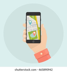 Gps navigation app on mobile phone. Hand holds smartphone.Telephone isolated on blue background. Tracking system. Vector illustration. Flat style
