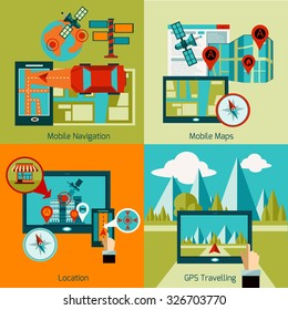 GPS navigation design concept set with mobile maps flat icons isolated vector illustration