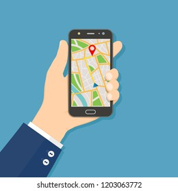 GPS navigation flat design concept. Hand holding mobile phone with GPS navigation map on screen.