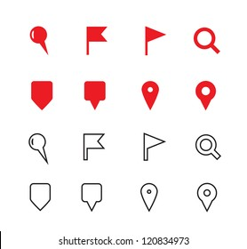 GPS and Navigation Icons on white background. Vector illustration.