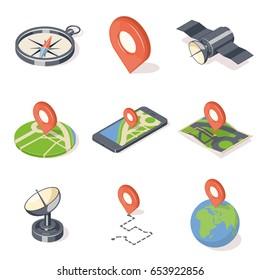 GPS navigation icons set isolated on white background. Isometric vector illustration