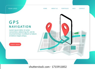 GPS navigation, location. Mobile navigation, . Landing page. Modern web pages for web sites.