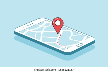 GPS navigation or route with check-in symbol on screen of mobile phone. Vector