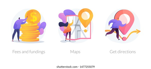 GPS navigation service application. Business investment and money savings cliparts set. Fees and funding, maps, get directions metaphors. Vector isolated concept metaphor illustrations