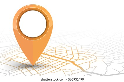 GPS navigator pin checking orange color on white background. vector illustration