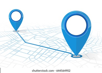 GPS navigator pin checking point to point on street map blue color in white background.vector illustration