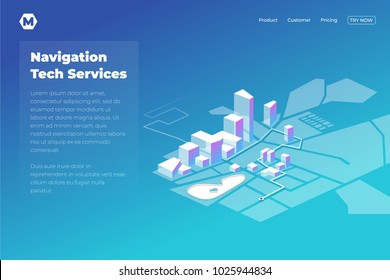 GPS online map navigation. Landing page desain in isometric
