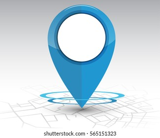 GPS pin checking location blue color on map.vector illustration