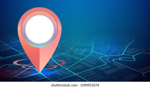 GPS pin mockup showing on city map in digital technology.vector illustration