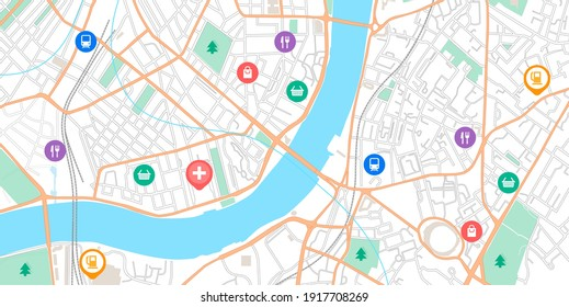 GPS point map. Navigation signs on city road scheme. Urban plan with parks and streets. Online navigational application. Vector marks on location of stores and petrol stations or transport stops
