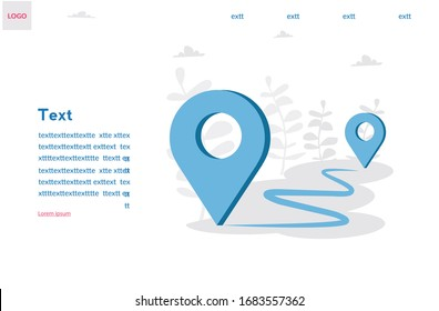 GPS point navigation, travel way, find trip, geo location. Pin. vector illustration two pin. Transportation delivery, map location, transport logistic, tourism navigate, route path concept.