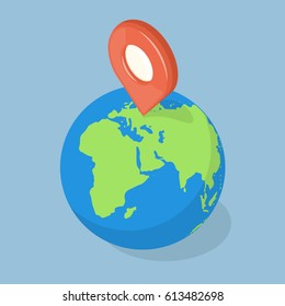 GPS pointer on planet earth. Navigation concept. Isometric vector illustration
