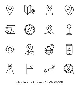 GPS, route, maps, location icon set. simple direction, pin outline icon sign concept.