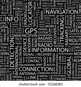 GPS. Seamless vector pattern with word cloud.