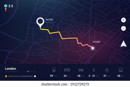 GPS track. City map application with navigation UI. Tracking path and route planning from home to office. Determining location on the plan of London. Vector dashboard interface template with buttons