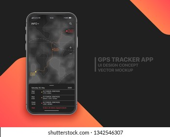 GPS Tracker Mobile App With Advanced Settings UI UX Concept Mock Up On Realistic Frameless Smartphone Screen Isolated on Black Background. Sport Application