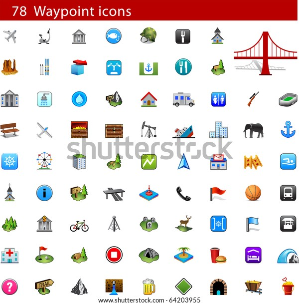 Gps Waypoint Icon Set Stock Vector (Royalty Free) 64203955