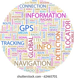 GPS. Word collage on white background. Illustration with different association terms.