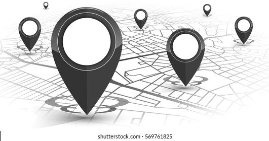 GPS.navigator pin black color mock up with map on white background. vector illustration