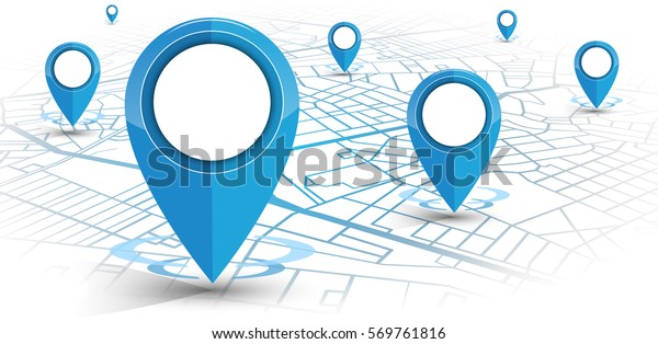 GPS.navigator pin blue color mock up with map on white background. vector illustration