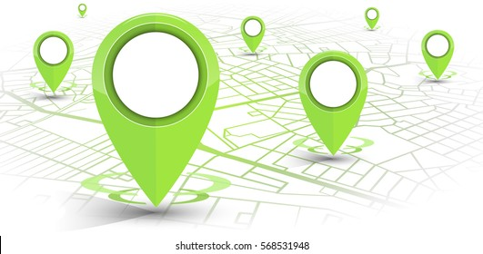 GPS.navigator pin green color mock up with map on white background. vector illustration