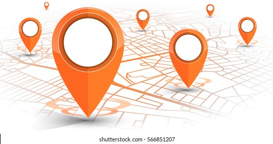 GPS.navigator pin orange color mock up with map on white background. vector illustration