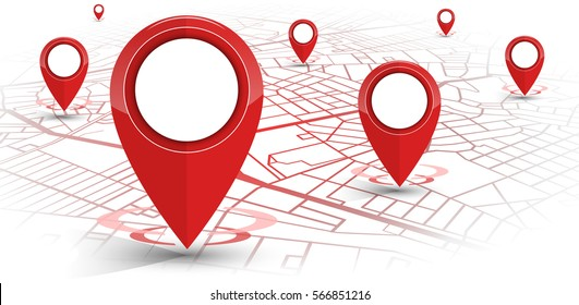 GPS.navigator pin red color mock up with map on white background. vector illustration